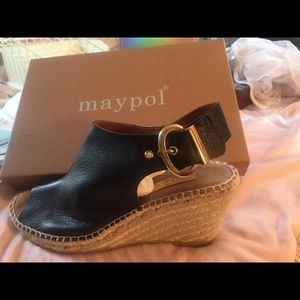 Shoes - Maypole made in Spain Black Leather Wedge shoe